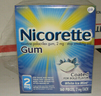 Nicorette Gum 2mg White Ice Mint 160 Pieces Exp  09/19 Stop Smoking Aid Coated