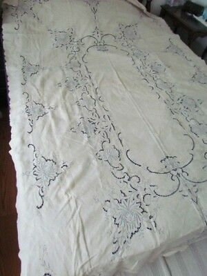 """Vintage large 102"""" x 64"""" Madeira Style Floral embroidery tablecloth Linen  Ecru"""