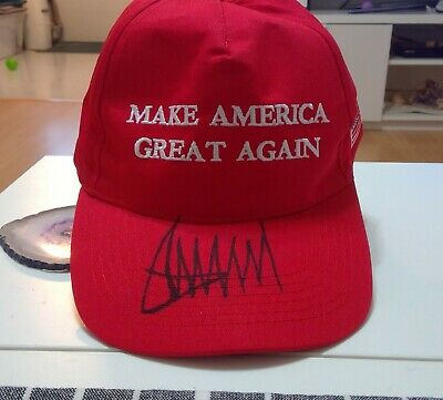 President Donald Trump Autographed Make America Great Again Hat Maga Photo Proof