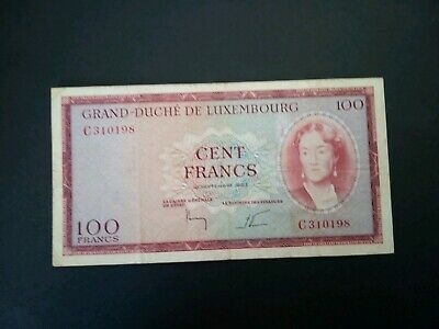 Banknote, Luxemburg 1963(VF)100 francs.Rare.