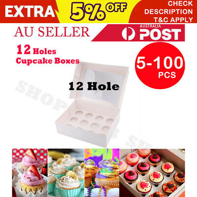 Premium Cupcake Box 12 hole Window Face Case Wedding Party with Inserts 5-100pcs