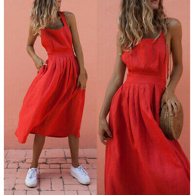 Women Summer Boho Strappy Long Maxi Dress Sexy Backless Party Beachwear Sundress