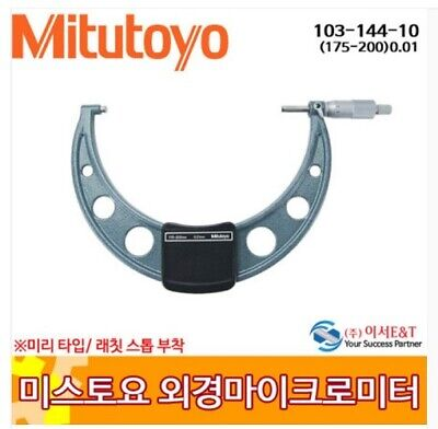 Mitutoyo 103-144-10 Outside Micrometer Industrial 175-200 mm Ratchet Stop_VA