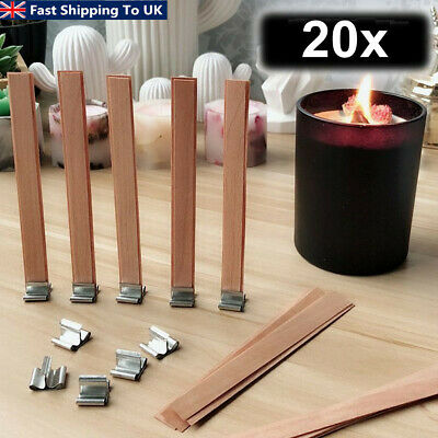 20x Wooden Candle Wicks Core Sustainer Set DIY Candle Making Supplies