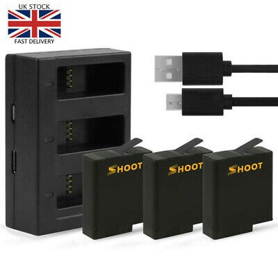 Battery with Three/Dual Ports USB fast Charger for GoPro Hero7 6 5 Camera tool