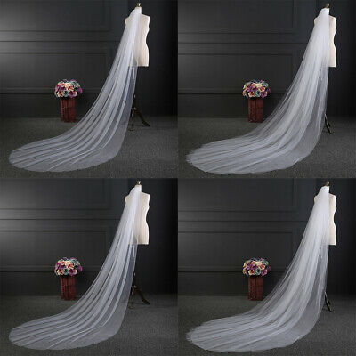 White/Beige 3Meters Wedding Bridal Long Veil Church Cathedral Length With Comb