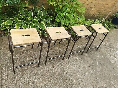 VINTAGE RETRO SCHOOL SCIENCE STOOLS CHAIR METAL STACKING BAR INDUSTRIAL x 4