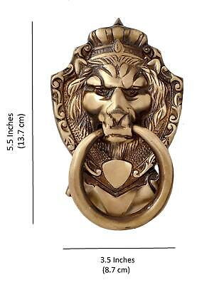Brass Door Knocker Victorian Antique Lion Head Towel Ring Home Door Decor 5.5""