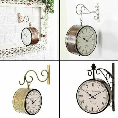 """Vintage Double Sided Clock Retro Roman Numeral Station Wall Mounted Clock 8"""""""