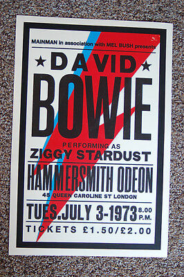David Bowie Concert Tour Poster 1973 Hammersmith Odeon