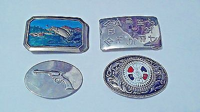 4 OLD Belt buckles lot- some are unique - VG Fishing- Gun- Symbols- AEROSPACE