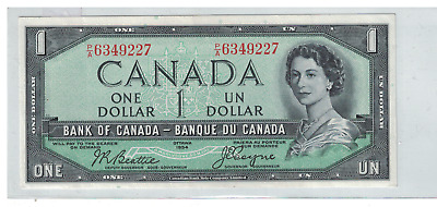 1954 Bank of  Canada $1 Dollar Note Devils Face P/A Beattie/Coyne