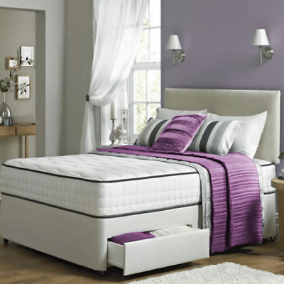 Divan Bed Set Available in Various Headboard Shades With Memory Foam Mattress