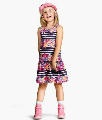 Girls Blue Stripe Dress With Floral Print In Ages 6-8 And 8-10 Years Bnwt