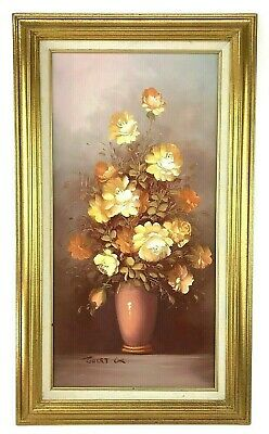 Robert Cox Signed Oil Painting of Vase of Flowers Roses In Gold Frame