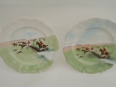 "ROYAL DOULTON HUNTING SCENE SALAD PLATEx 2  D6326 SIMPSON ""OVER THE GRASS"""
