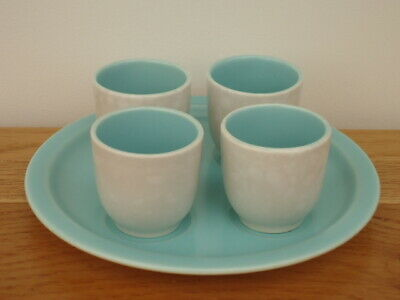 Poole Twintone  C57 Ice Green/Seagull Egg Cup Set On Stand
