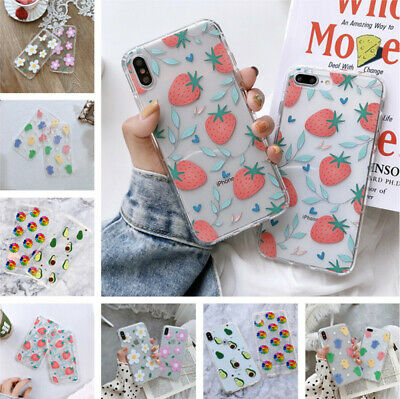 For iPhone XS Max XR X 8 7 Plus 6 Flower Fruit Shockproof Soft Clear Case Cover