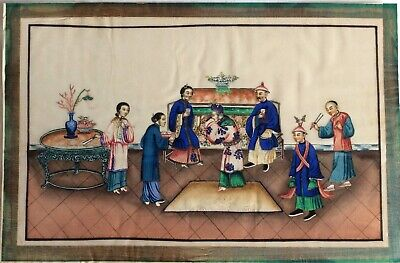 A Fine 19Th Century Chinese Export Watercolor Painting On Pith