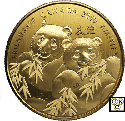 2019 Fine Silver Gold-Plated $8 Coin -Pandas: A Golden Gift of Friendship(18730)