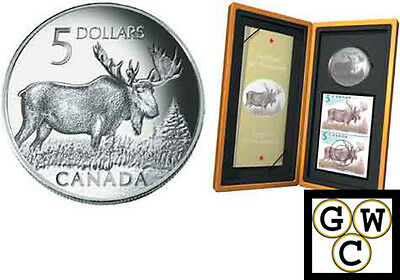 2004 Moose Proof $5 Pure Silver Coin & Stamp Set (10815)