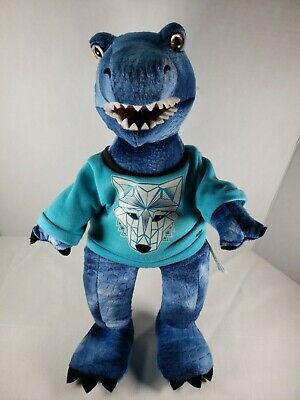 Build A Bear BABW T-Rex Dinosaur Blue 18 Inches Long w/ SWEATSHIRT