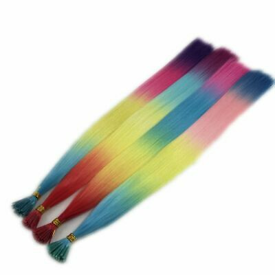 """22"""" Rainbow Feather Hair Extensions- 4 Colour Choice- I-Tip FREE Micro Beads"""