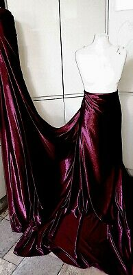 3m CLARET RED STRECH VELOUR VELVET dress  FABRIC 58 INCES WIDE