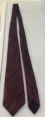 MENS VINTAGE RONALD COLE TIE 60s 70s BURGUNDY CLARET DIAGONAL STRIPE DESIGN