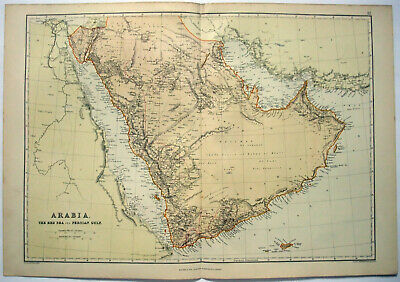Original 1882 Map of Arabia by Blackie & Son. Antique.