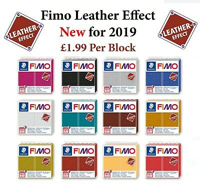 FIMO Leather Effect 57g Block Polymer Clay 12 Colours Modelling Jewellery Craft