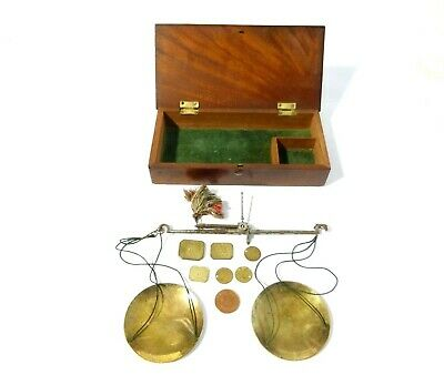 Antique Apothecary Chemist Weighing Scales Weights Original Wooden Box #SC1