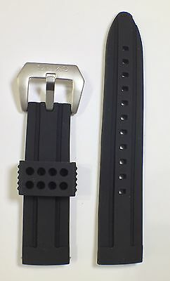 22mm Diver's Watch Black Silicone Rubber Watch Strap for SEIKO, Thick & Robust.
