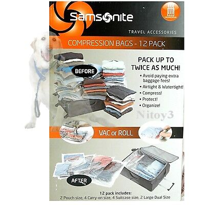 Samsonite Compression Packing Bags Travel Luggage Organizer - 12-Pack   (P9)
