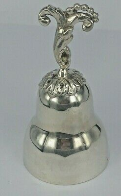 Antique  continental solid silver table bell with ornate handle