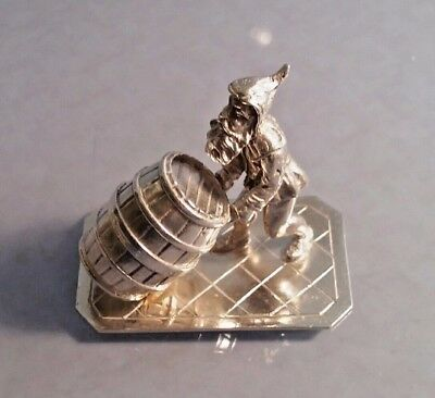 Novelty Dutch silver miniature figure of a gnome with barrel