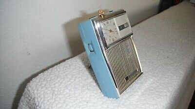 Vintage Bulova Blue  830 Transistor Radio With Wind-Up Clock with Case