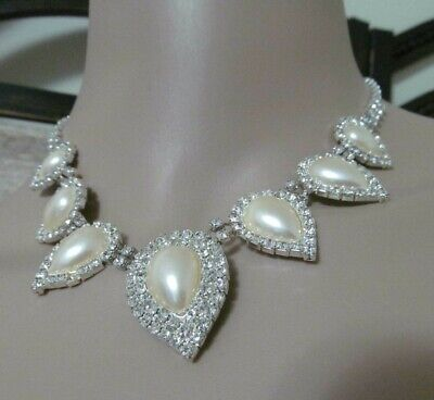 "STUNNING MANY CRYSTALS IVORY TEAR DROP CABOCHON  16"" choker necklace NICE"