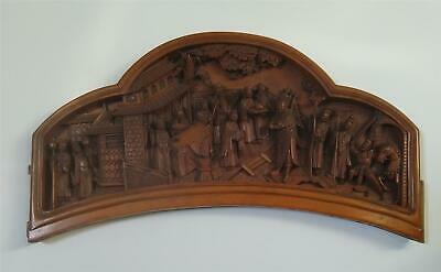 Chinese Antique Boxwood Panel In Relief With Scholars & Garden Qing Dynasty