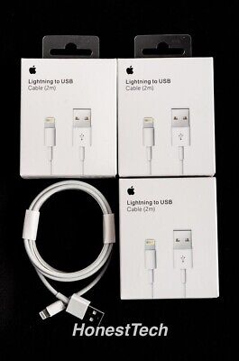 3 Pack Bundle Apple Lightning USB Charger 2M Cable Genuine iPhone 5s 6 Plus 7, 8