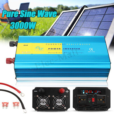 3000W Pure Sine Wave Inverter 12V/24V to 110V/220V Car LCD Solar Power