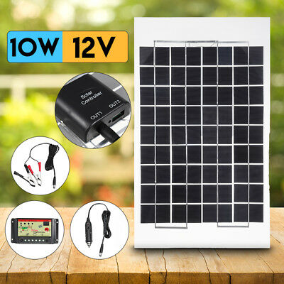10W 12V Poly Flexible Solar Panel+Cable+Controller For Motorhome Boats CAR