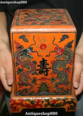 """9"""" Old China Wood Lacquerware Dynasty Words Shou Dragon Loong Seal Stamp Box"""