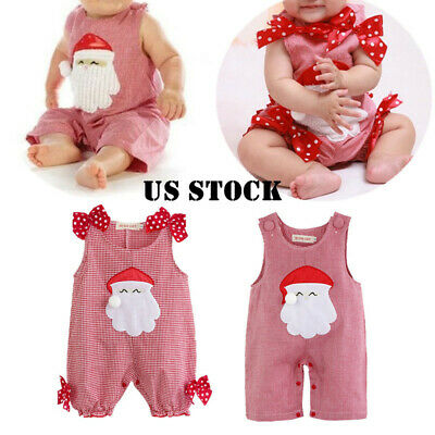 Christmas Baby Girls Boys Romper Outfit Santa Clause Bodysuit Costume Xmas Gifts