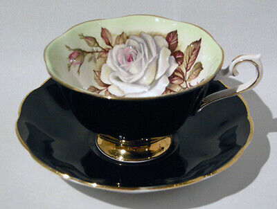 1960s Royal Albert WHITE ROSE on BLACK - MILADY Series CUP & SAUCER - Mint Cond