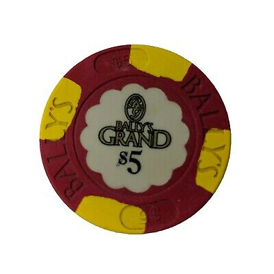Casino Chip Bally's Grand Atlantic City NJ $5Red House Mold Shaped Inlay Paulson