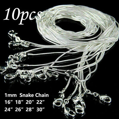 10PCS Wholesale Solid Silver Plated 925 1MM Snake Chain Necklace Fits Pendant