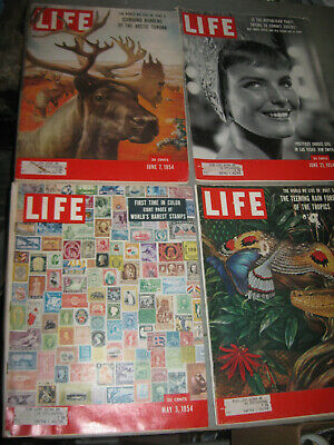 Lot Of 4 Life Magazines 1954 Stamps Around The World /Rain Forest & More