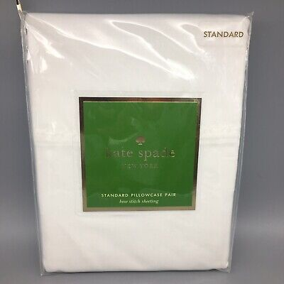 2pc Kate Spade Standard Pillowcase Set Pair White Bow Stitch Bow Tie 20x32 NEW