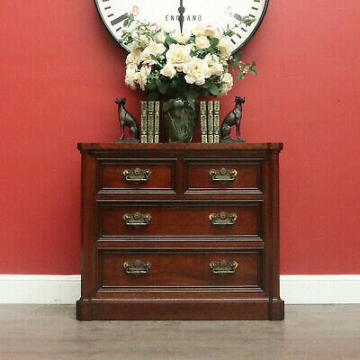 Vintage Chest of Drawers, Mahogany, Brass Handles, Hall Cabinet Large Bedsides